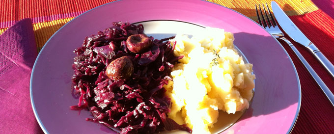 red cabbage - mashed potatoes