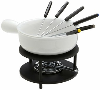 ceramic cheese fondue set