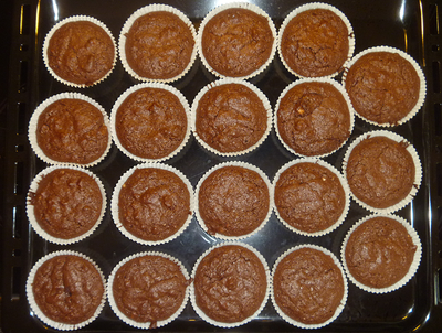 Brownies in forms baked